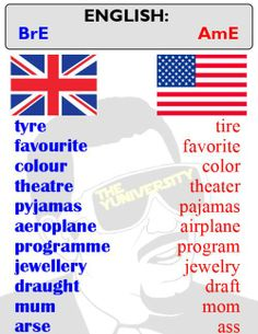 We have different spellings and way to spell out English terms when it comes to British and American formatting, british english vs american english terms. English Spelling, Spelling And Grammar, English Vocabulary Words, English Phrases, Learn English Words, English Lessons, English Grammar, Grammar Check, French Lessons