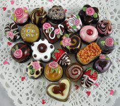 Lampwork Valentine Chocolates heart, Heart Bead Fo
