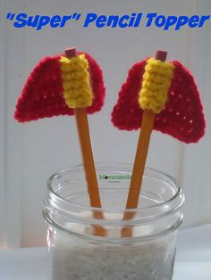 """Ravelry: """"Super"""" Pencil Topper pattern by Mommiknits designs"""