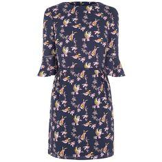 Oasis Lotus Bird Flippy Sleeve Skater Dress, Multi/Blue (€56) ❤ liked on Polyvore featuring dresses, blue skater dress, blue maxi dress, blue midi dress, flare sleeve dress and long-sleeve mini dress