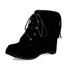 f72ef8e45584ac VogueZone009 Womens Imitated Suede LowTop Solid LaceUp HighHeels Boots  Black 38 -- Continue to the