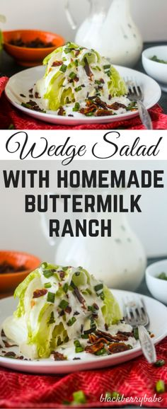One taste of this easy homemade buttermilk ranch dressing and you'll throw your bottles away! This salad is perfectly crisp with iceberg lettuce, bacon, chives and homemade buttermilk ranch dressing.