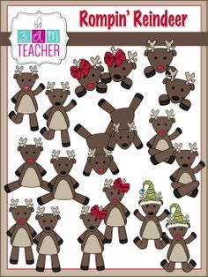 33 Fun Reindeer Graphics in full color & black and white by The 3AM Teacher!!! $7