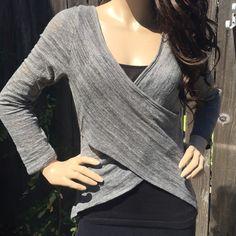 Cross front top Cute, lightweight steel heather top!🌻 BONGO Tops Tees - Long Sleeve