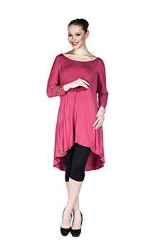 Women's 2016 Asymmetrical Long Sleeve Tunic Dress with Pocket and Bling Leaf Design (Fushia) LuckyBEBE http://www.amazon.com/dp/B01DQI5DWC/ref=cm_sw_r_pi_dp_ZB2.wb0SQA2PY