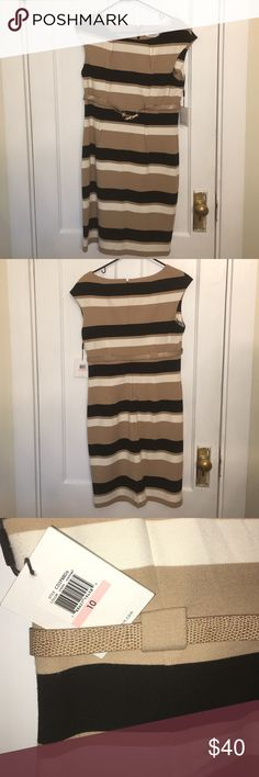 Calvin Klein - stripped dress Black white and tan colored comes with belt. Open to suggested prices Calvin Klein Dresses