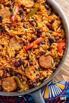 Sausage Rice, Beans And Sausage, Spicy Sausage, Seasoned Rice Recipes, Chicken Rice Recipes, Bean Recipes, Healthy Recipes, Healthy Meals, Free Recipes
