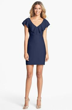 Jenny Yoo 'Gabby' Ruffled Neckline Sheath Dress (Online Only) available at #Nordstrom