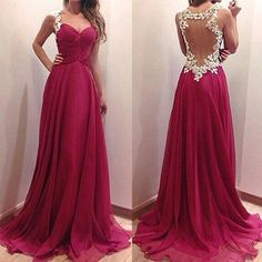 Wine Red chiffon evening dress sheer back prom dress modest long party gowns