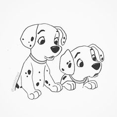 A quick little illustration of two cute puppies from 101 Dalmatians #puppies…