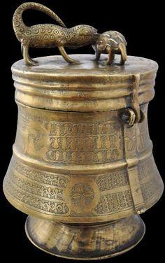 Cast Brass Storage Container (Kuduo) Asante People, Ghana.19th century