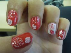 Red and white dices - Nail Art Gallery nailartgallery.nailsmag.com by nailsmag.com #nailart