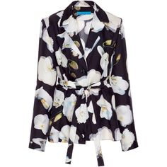 Jonathan Cohen Abstract Orchid Silk Blouse (€555) ❤ liked on Polyvore featuring tops, blouses, print, abstract top, long sleeve tops, tie belt, silk print blouse and long sleeve silk top