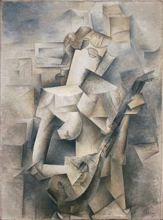 """Pablo Picasso; """"Girl with a Mandolin (Fanny Tellier)"""", 1910. Oil on canvas, 100.3 x 73.6 cm, Museum of Modern Art New York. 