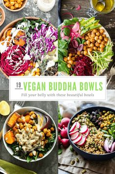 19 Beautiful Vegan Buddha Bowl Recipes To Fill Your Belly With - Happy Happy Vegan Vegan Bowl Recipes, Vegan Foods, Vegan Dishes, Lunch Recipes, Whole Food Recipes, Vegetarian Recipes, Healthy Recipes, Veggie Bowl Recipe, Vegan Brunch Recipes