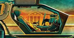 Here's the interior gatefold for Part II of the #BackToTheFuture Trilogy #vinyl box set. #mondo #martymcfly #delorean #bttf by dkngstudios