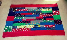 Super easy rag quilt made from kids' old fleece pajamas