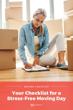 """Moving Day is around the corner — don't let the """"day-of"""" excitement and hustle cause you to forget an important to-do. Use MYMOVE's checklist for moving day, and for getting settled in. Moving Costs, Moving Day, Moving Tips, Moving Checklist, Next At Home, Stress Free, Hustle, Forget, City Guides"""