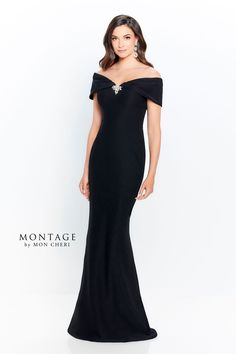 This Montage by Mon Cheri 120905 red mother of the bride gown features a fitted silhouette with a collared off-the-shoulder neckline and center brooch. This stretch crepe long dress finishes in a slight brush train. Set includes a matching shawl. Formal Dresses With Sleeves, Evening Dresses With Sleeves, Mob Dresses, Types Of Dresses, Evening Gowns, Dress Formal, Ball Dresses, Mother Of The Bride Dresses Long, Mothers Dresses