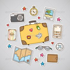 Travel Stickers Zip file contains: - editable vector file. RGB - jpeg, size RGB Created: 26 November 13 Graphics Files Included: JPG Image EPS Layered: No Minimum Adobe CS Version: CS Tags airplane drawn phone tree stamp #