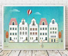 houses print, vintage print, retro print, print illustration, vintage house…