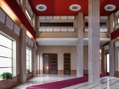 Architect: Achille Luigi Ferraresi, 1952–57Floor: Botticino limestone and Verona Rosso limestone. Pillars: Botticino limestone