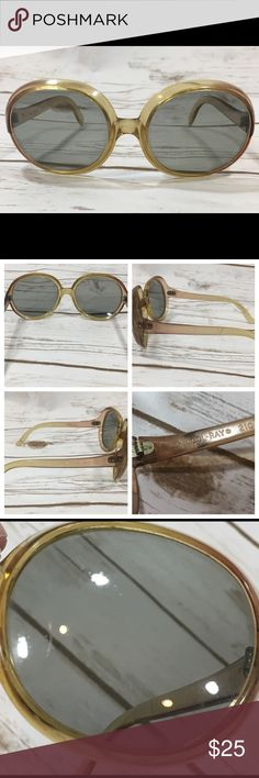 """Vintage 1970s Oversized Sunglasses Vintage 1970s/70s Cool-Ray 210 Social Eyes oversized, big/large round plastic polarized women's sunglasses. Frames are a yellowish-brown color.  Each lens measures approximately 2.5"""" x 2 1/4"""" including the frame. 5 1/4"""" arms from hinge end 6"""" across at ear bend  Good preowned vintage condition. They do have surface scratches on the lenses and frames, but in my opinion the lens scratches did not affect my ability to see. Vintage Accessories Sunglasses"""