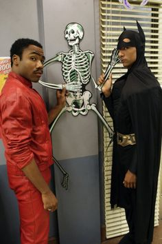 """Donald Glover as Troy and Danny Pudi as Abed on Community from the episode """"Intr..."""