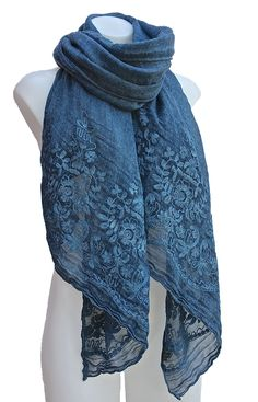 Soft Scarf/Shawl with Embroidered Flowers
