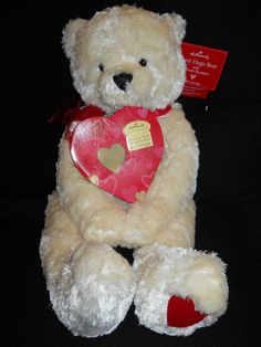 "Hallmark Sweet Hugs Teddy Bear Polar white red ribbon 20"" Valentine PLush 1"