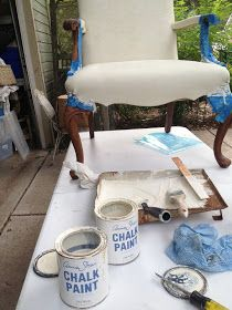 DIY:   AS Chalk Painted and Waxed Chair - I can't believe this chair has been painted! Tutorial explains the steps - she says the finished product feels like canvas. This is a great fix for an upholstered piece and so much more affordable than reupholstering - via Rebecca Ersfeld
