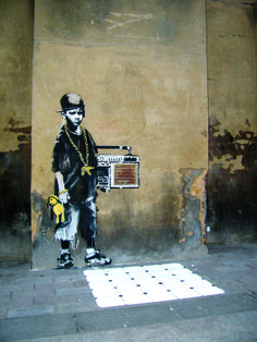 Banksy does not do graffiti, he does art, because he cares about his work more than most people.