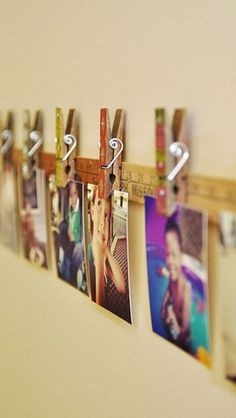 Stain yardstick and clips and use for hanging Christmas cards