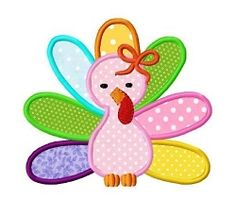 Girl Turkey with Bow Applique - 3 Sizes! | What's New | Machine Embroidery Designs | SWAKembroidery.com Dollar Applique