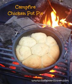 How to cook in a Dutch Oven over a fire.   Campfire Chicken Pot Pie | Dish Over Dinner