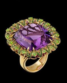 Master Exclusive Jewellery, collection Solo, amethyst, tsavorit, demantoid garnet ring