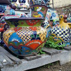 Talavera Mexican Pottery and Hen planter