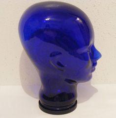 "VINTAGE 11.5"" COBALT BLUE GLASS FACE HEAD HAT WIG SUNGLASSES MANNEQUIN DISPLAY"