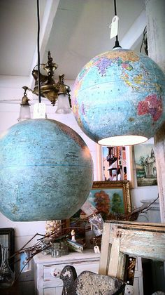 Ceiling lights made from recycled globes.