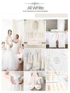 All white wedding inspiration board, color palette, mood board via Weddings Illustrated