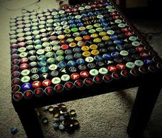 instructions for bottle cap table. Also, an idea in the comments about using matchbox cars instead.. what a cool idea..