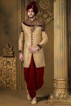 Light #gold & dark #red khinkwab & #velvet bandh gala angelic #sherwani with full sleeves -IW330