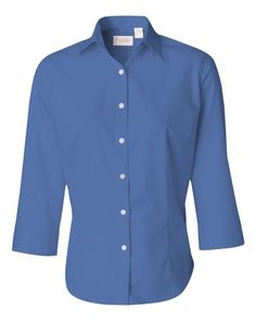 Cobalt Ladies Three-Quarter Sleeve Baby Twill Shirt From Van Heusen 13V0527