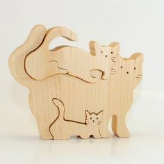 Wooden Cat Family Puzzle