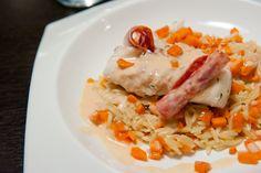 cabillaud creme de chorizo et risotto de pates aux carottes