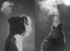 Dievča a vlk v zime