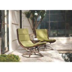 $399 - Home Decorators Collection Emilia 3-Piece Patio Chat Set with Stem Green Cushions-1468110610 - The Home Depot