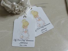 Personalized Favor Tags 2 1/2'' First Communion by beautifullshop