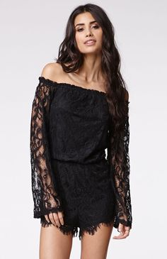 """A PacSun.com Online Exclusive! The LaceRomper by Reversefor PacSun.com has an off shoulder styleand delicate lace construction. The romper offers long sleeves and light weight fabric for the perfect fit. This would be totally cutewith a pair of heels for a night out! Lined.High rise12"""" rise1"""" inseam23"""" sleeve lengthMeasured from a size smallModel is 5'9"""" and wearing a small100% polyesterMachine washableImported"""