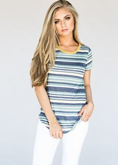 Emerald Charly Striped Tee, jessakae, blonde, hair, blonde hair, stripes, casual, style, fashion, tee